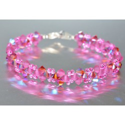 Bracelet cristal Swarovski rose ab et fuschia mat finish