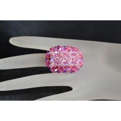 Bague cristal Swarovski, bijou femme, hérisson allongée, nuance de 4 roses, luxe