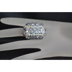 Bague cristal Swarovski, bijou femme, hérisson allongée, nuance de transparent à gris, luxe