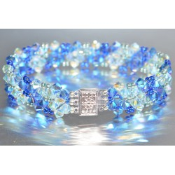 Bracelet cristal Swarovski manchette sapphire ab2x-light azore ab2x