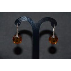Boucles d'oreilles Swarovski, argent 925, chic, bijou luxe, Classic Cut 6430, topaz