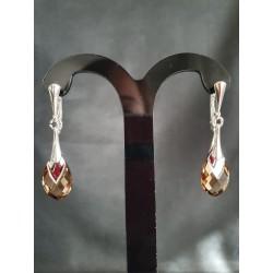 Boucles d'oreilles Swarovski, argent 925,  Metallic Cap Pear, Light Topaz Colorado Light Chrome, femme