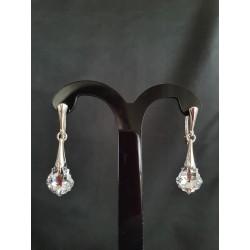 Boucles d'oreilles Swarovski, argent 925, chic, Goutte Baroque 6090, bijou luxe, mode, Crystal Comet Argent Light, femme