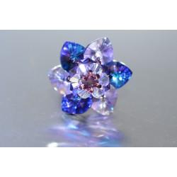 Bague cristal de Swarovski fleur heliotrope-vitrail medium