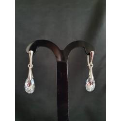 Boucles d'oreilles Swarovski, argent 925, chic, Goutte Pear 6106, bijou luxe, mode, Crystal Comet Argent light, femme