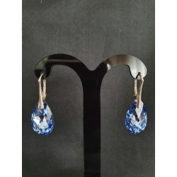Boucles d'oreilles Swarovski, chic, bijou luxe, argent 925, Goutte Pear 6106, mode, Light Sapphire Comet Argent Light, femme