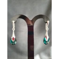 Boucles d'oreilles Swarovski, argent 925, chic, goutte 6565 Metallic Cap Pear, bijou luxe, mode, Emerald, femme