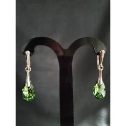 Boucles d'oreilles Swarovski, argent 925, chic, Goutte Pear 6106, bijou luxe, mode, Peridot Comet Argent light, femme
