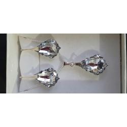 Cristal Swarovski, parure argent 925, gouttes baroques, boucles d'oreilles, pendentfi, comet light argent,