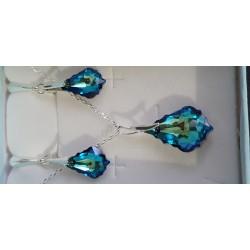 Cristal Swarovski, parure argent 925, gouttes baroques, boucles d'oreilles, pendentif, bermuda blue