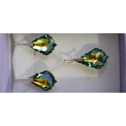 Cristal Swarovski, parure argent 925, gouttes baroques, boucles d'oreilles, pendentif, crystal vitrail médium