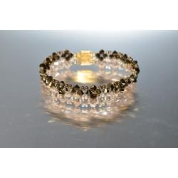 Bracelet large cristal Swarovski crystal dorado 2x et golden shadow