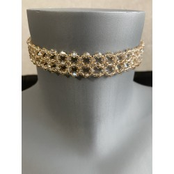 Mariage, ras de cou Swarovski, chic, bijou luxe, extra-large, crystal golden shadow, bijoux femme