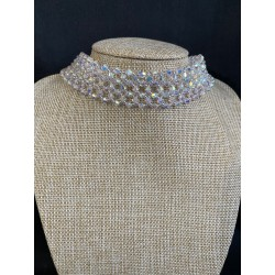 Mariage, Ras de cou Swarovski, chic, bijou luxe, extra-large, crystal ab2x, bijoux femme