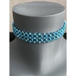 Mariage, ras de cou Swarovski, chic, bijou luxe, extra-large, turquoise ab2x, bijoux femme