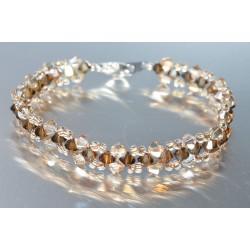Bracelet fin cristal Swarovski bronze shade 2x et golden shadow