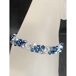 Bracelet cristal Swarovski, bijou femme, crystal metallic blue 2x, light comet argent 2x, mode, luxe