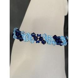 Bracelet cristal Swarovski, bijou femme, dark indigo, aquamarine, mode, luxe