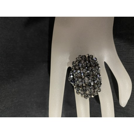 "Bague cristal Swarovski, femme, crystal silver night, luxe, ""Grandiosa"""