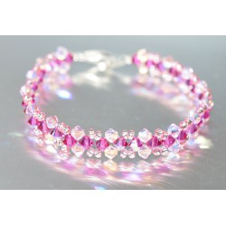 Bracelet cristal Swarovski rosaline ab2x et fuschia ab