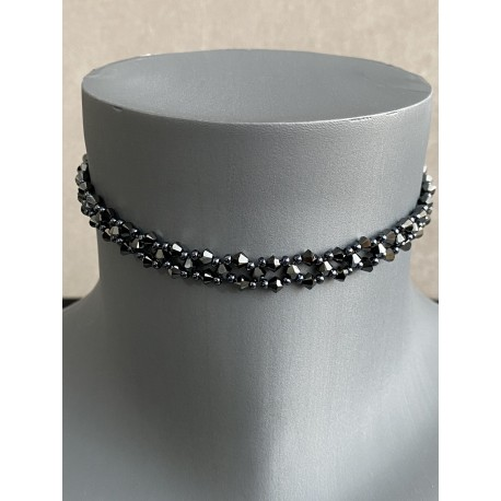 Swarovski, ras de cou cristal Swarovski, chic, bijou luxe, femme, mode, hematite 2x