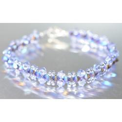 Bracelet fin cristal Swarovski lilac ab et améthiste ab2x