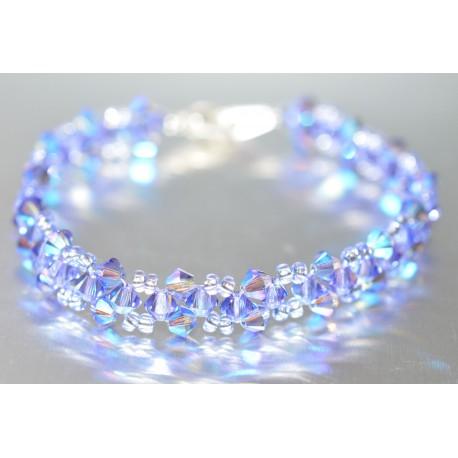 Bracelet cristal Swarovski tanzanite ab et tanzanite ab2x