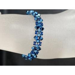 Swarovski, Bracelet Swarovski, bracelet fin, cristal Swarovski, metallic blue 2x
