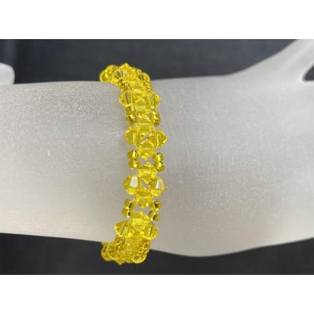 Bracelet fin cristal Swarovski sunflower, jaune