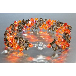 Bracelet cristal Swarovski large fireopal ab-smoky quartz ab fermoir aimant