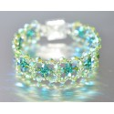 Bracelet cristal  Swarovski manchette dentelle péridot ab-fern green ab2x