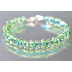 Bracelet fin cristal Swarovski péridot ab2x et fern green ab2x