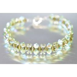 Bracelet fin cristal Swarovski chrisolite ab2x et kaki ab