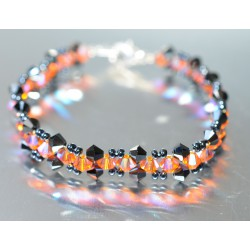 Bracelet fin cristal Swarovski hématite 2x et sun ab2x