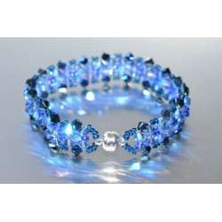 Bracelet cristal Swarovski large manchette metallic blue 2x et sapphire ab2x fermoir aimant