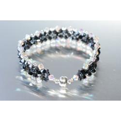 Bracelet cristal Swarovski large manchette hématite 2x et crystal ab2x fermoir aimanté