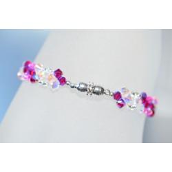 Bracelet fin cristal Swarovski ruby ab2x et crystal ab2x avec fermoir aimanté