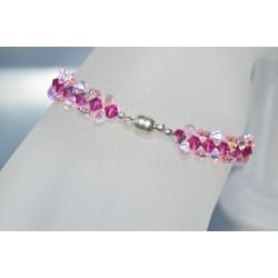 Bracelet fin cristal Swarovski fuschia ab et rosaline ab2x avec fermoir aimanté