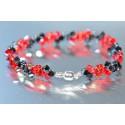 Bracelet fin cristal Swarovski light siam ab et hématite 2x avec fermoir aimanté