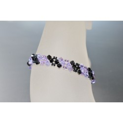 Bracelet fin en cristal Swarovski hématite 2x et violet ab