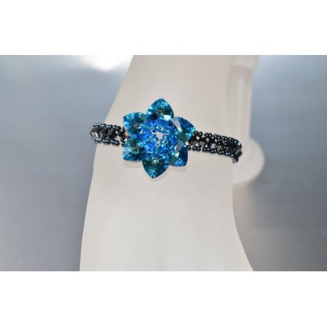 Bracelet cristal de Swarovski fleur light siam ab et tour hématite 2x
