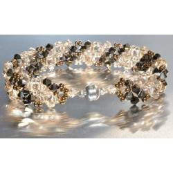 Bracelet cristal Swarovski large crystal golden shadow-crystal metallic gold 2x fermoir aimant