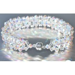 Bracelet cristal Swarovski large manchette crystal ab2x fermoir aimant