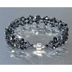 Bracelet cristal Swarovski large manchette hématite 2x fermoir aimant