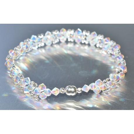 Bracelet fin en cristal Swarovski garnet ab2x et light améthyst ab2x