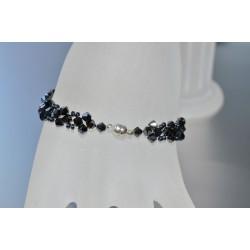 Bracelet fin cristal Swarovski hématite 2x avec fermoir aimanté