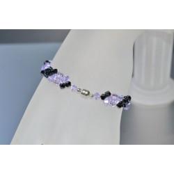 Bracelet fin en cristal Swarovski hématite 2x et violet ab fermoir aimanté