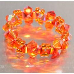 Bague anneau crystal de Swarovski fireopal ab