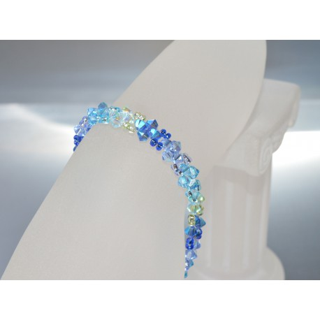 Bracelet cristal Swarovski fin dégradé de bleus fermoir aimant