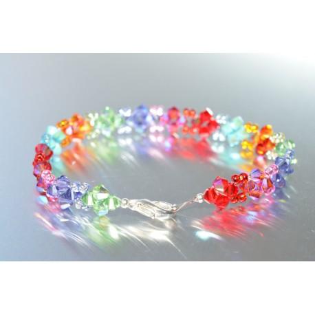 Bracelet cristal Swarovski fin dégradé de bleus